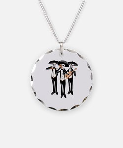 Day Of The Dead Mariachi Skeletons Necklace
