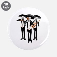 """Day Of The Dead Mariachi Skeletons 3.5"""" Button (10"""