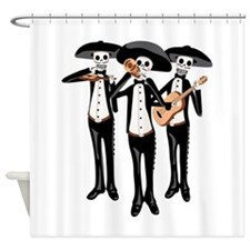 Day Of The Dead Mariachi Skeletons Shower Curtain