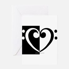 Bass Heart Music Greeting Cards