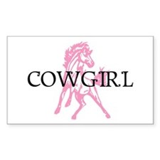 pink horse cowgirl Rectangle Decal