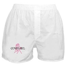 pink horse cowgirl Boxer Shorts