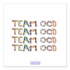 "Team OCD Button Square Car Magnet 3"" x 3"""