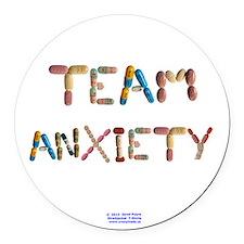 Team Anxiety Button Round Car Magnet