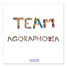 """Team Agoraphobia Button Square Car Magnet 3"""" x 3"""""""