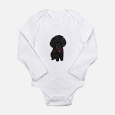 Poodle pup (blk) Long Sleeve Infant Bodysuit
