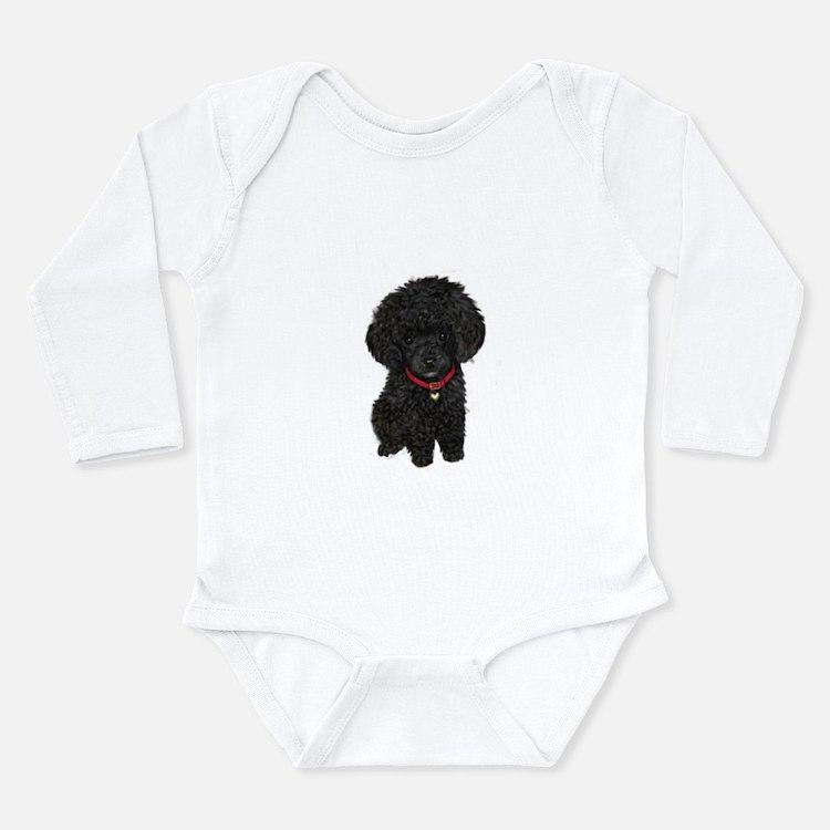 Poodle pup (blk) Long Sleeve Infant Bodysuit
