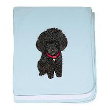 Poodle pup (blk) baby blanket