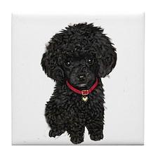 Poodle pup (blk) Tile Coaster