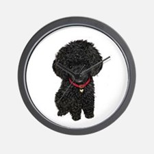 Poodle pup (blk) Wall Clock