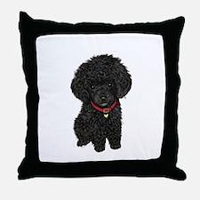 Poodle pup (blk) Throw Pillow