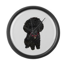 Poodle pup (blk) Large Wall Clock
