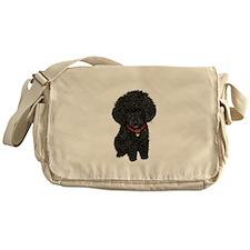 Poodle pup (blk) Messenger Bag