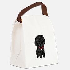 Poodle pup (blk) Canvas Lunch Bag