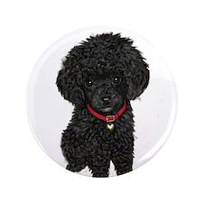 """Poodle pup (blk) 3.5"""" Button"""