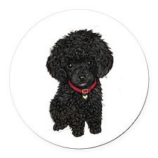 Poodle pup (blk) Round Car Magnet
