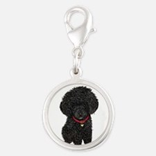 Poodle pup (blk) Silver Round Charm