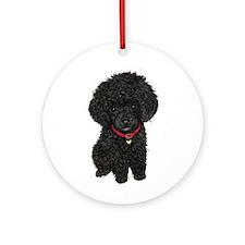 Poodle pup (blk) Ornament (Round)
