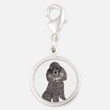 Poodle (Min-Slvr) Silver Round Charm