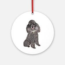 Poodle (Min-Slvr) Ornament (Round)
