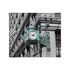 Green Marshall Fields Clock Chicago  Throw Blanket