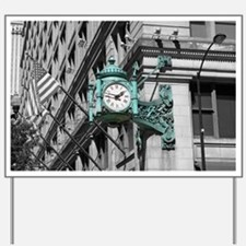 Green Marshall Fields Clock Chicago Phot Yard Sign