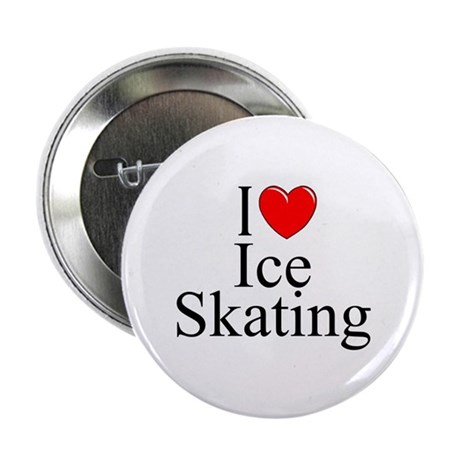 """""""I Love (Heart) Ice Skating"""" 2.25"""" Button"""