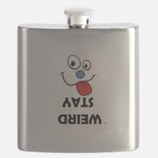 Stay Weird Funky Smiley Face Flask