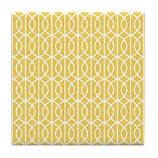 Mimosa Yellow Modern Pattern Tile Coaster