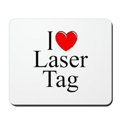 """I Love (Heart) Laser Tag"" Mousepad"