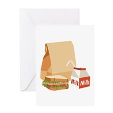 Paper Bag Milk Sandwich Greeting Cards