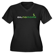 Oil No More Women's Plus Size V-Neck Dark T-Shirt
