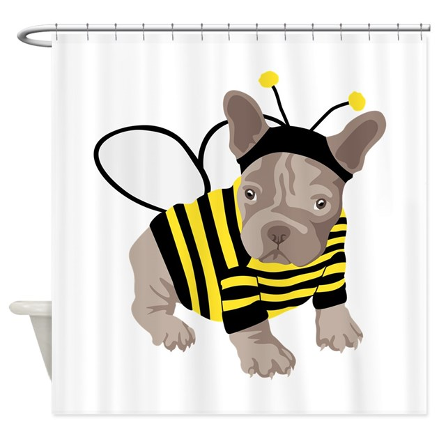 Halloween French Bulldog Bumble Bee Shower Curtain By