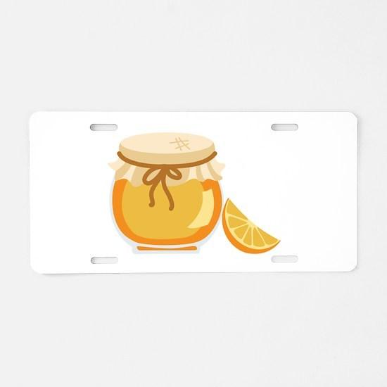 Orange Marmalade Jelly Jar Aluminum License Plate