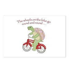 Turtle On Bike Postcards (Package Of 8) Postcards