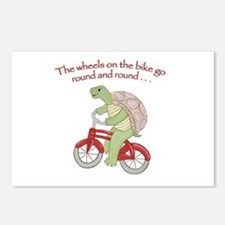 Turtle On Bike Postcards (Package Of 8) Postcards
