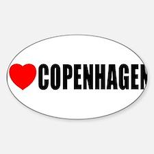 I Love Copenhagen, Denmark Oval Decal