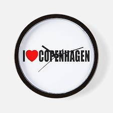 I Love Copenhagen, Denmark Wall Clock