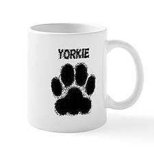 Yorkie Distressed Paw Print Mugs