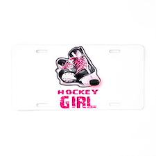 hockey girl Aluminum License Plate