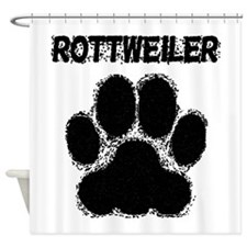 Rottweiler Distressed Paw Print Shower Curtain