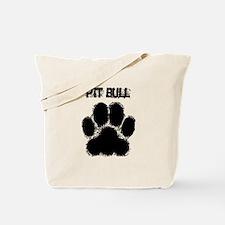 Pit Bull Distressed Paw Print Tote Bag