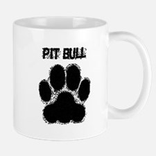 Pit Bull Distressed Paw Print Mugs