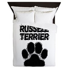 Parson Russell Terrier Distressed Paw Print Queen