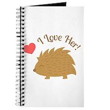 Cute Male Hedgehog in Love, I love Her Journal