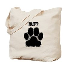 Mutt Distressed Paw Print Tote Bag