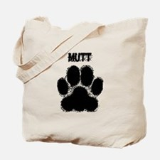 Mutt Distressed Paw Print Tote Bag