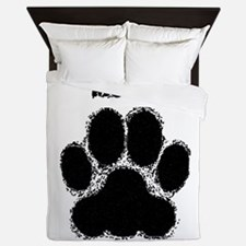 Mutt Distressed Paw Print Queen Duvet