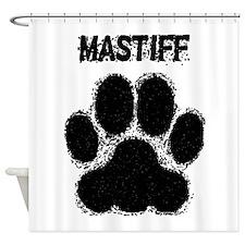 Mastiff Distressed Paw Print Shower Curtain