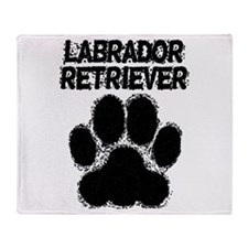Labrador Retriever Distressed Paw Print Throw Blan